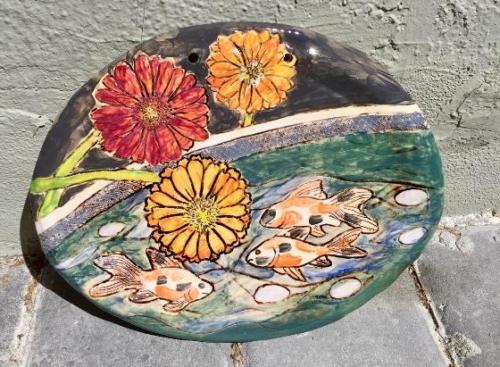 Fancy Goldfish and Daisy Wall Art